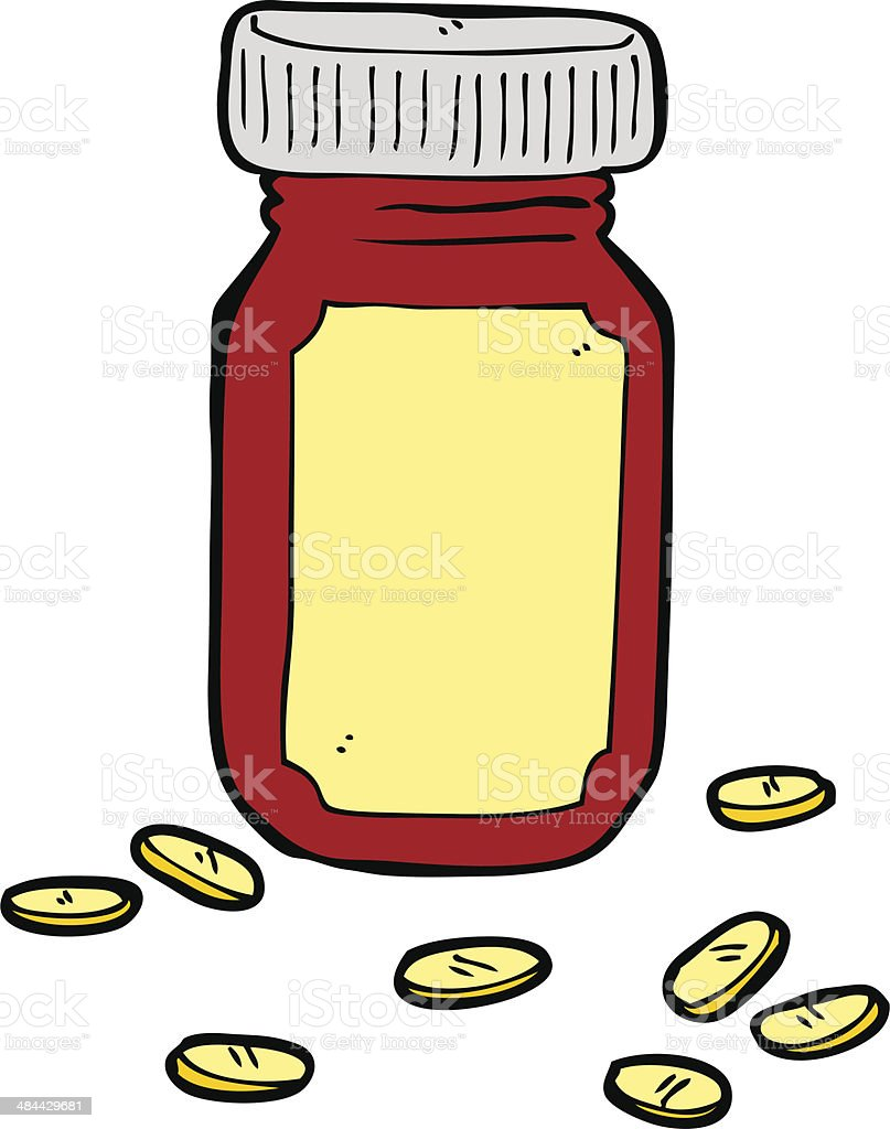 cartoon jar of pills royalty-free stock vector art