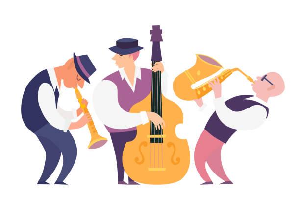 stockillustraties, clipart, cartoons en iconen met cartoon jazzmuzikanten groep vector illustratie - klarinet