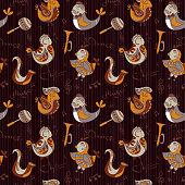 Cartoon jazz orchestra concept wallpaper. Birds sing and dancing.