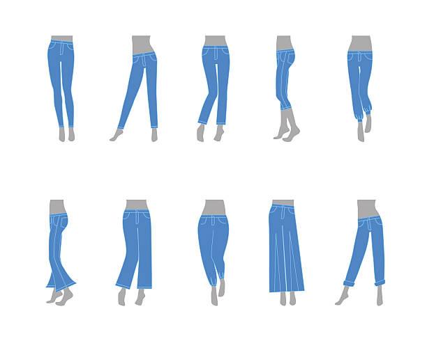 illustrazioni stock, clip art, cartoni animati e icone di tendenza di cartoon jeans model for women. vector - capri
