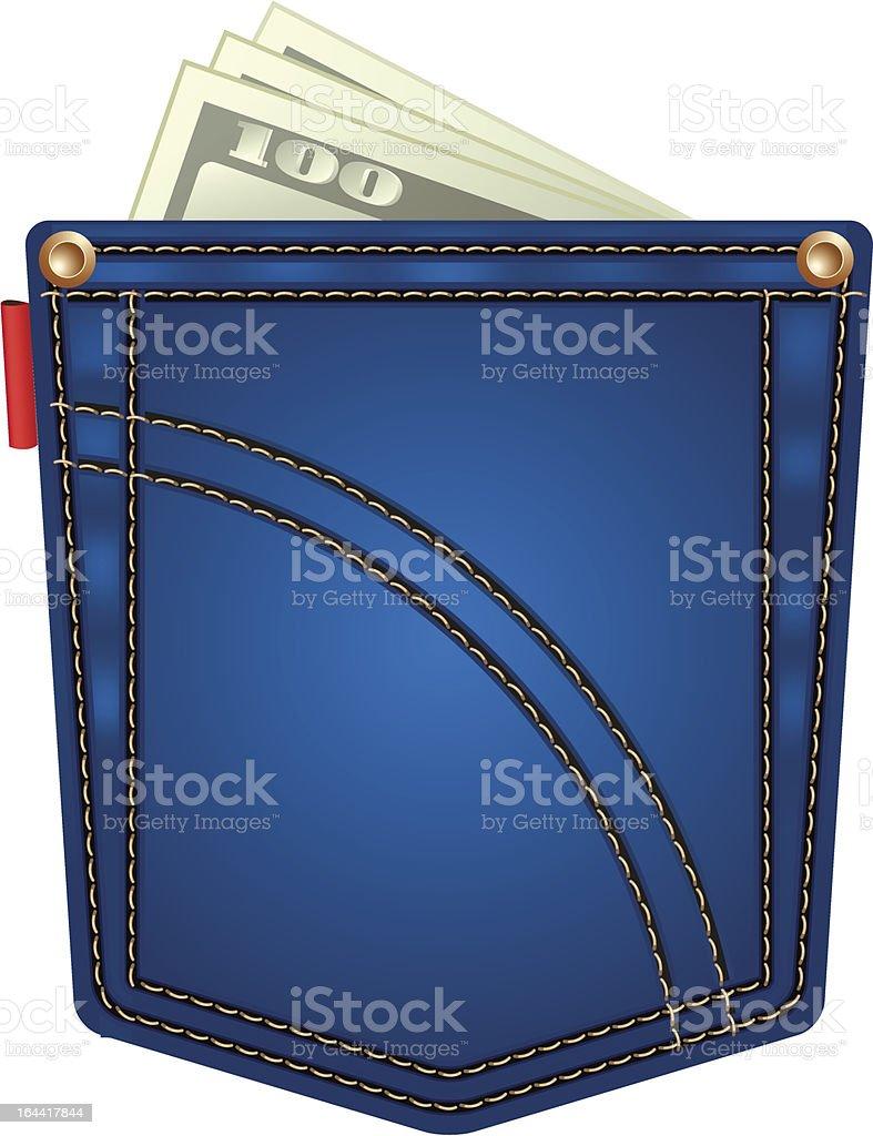 Cartoon jeans pocket with hundred dollar bills vector art illustration