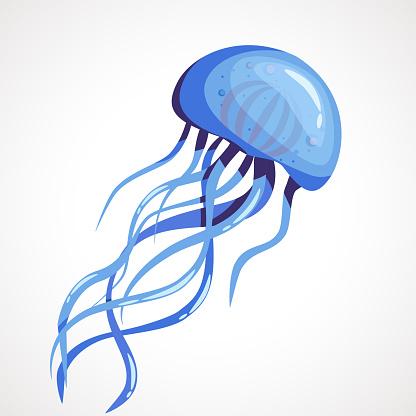 Cartoon blue jellyfish on a white background. Vector illustration