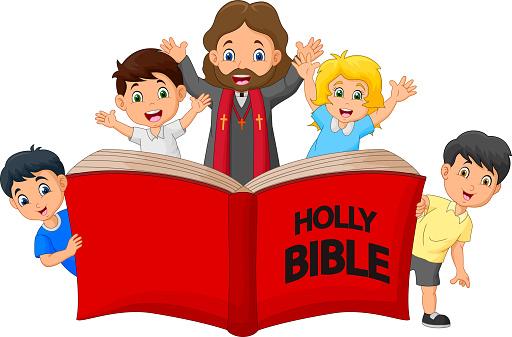 Cartoon Jesus Christ with children