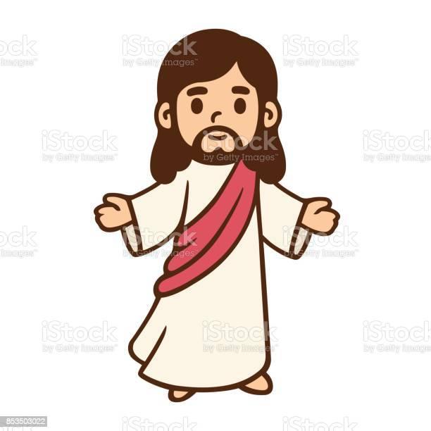Cartoon Jesus Drawing - Arte vetorial de stock e mais imagens de Arte