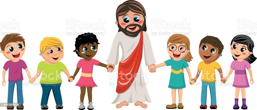 Cartoon Jesus hand in hand kids children isolated vector art illustration