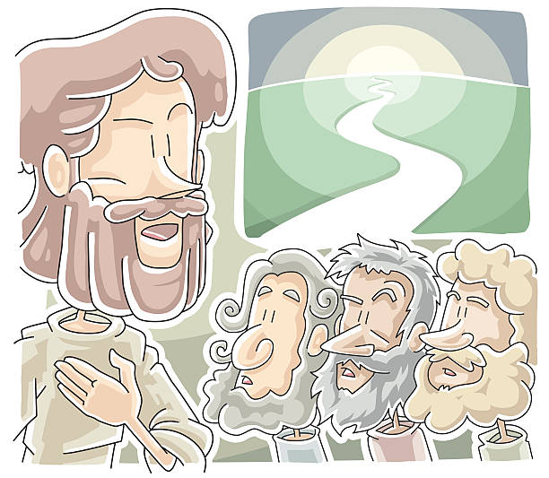 Cartoon Jesus with three followers and a clear path  vector art illustration
