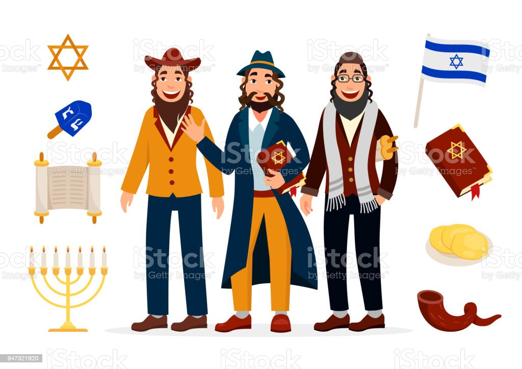 Cartoon Jews Characters Icons Collection Isolated On White