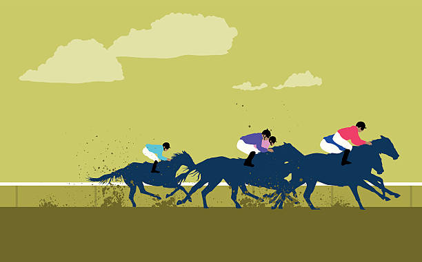 bildbanksillustrationer, clip art samt tecknat material och ikoner med cartoon jockeys and horses racing around the track - racehorse track