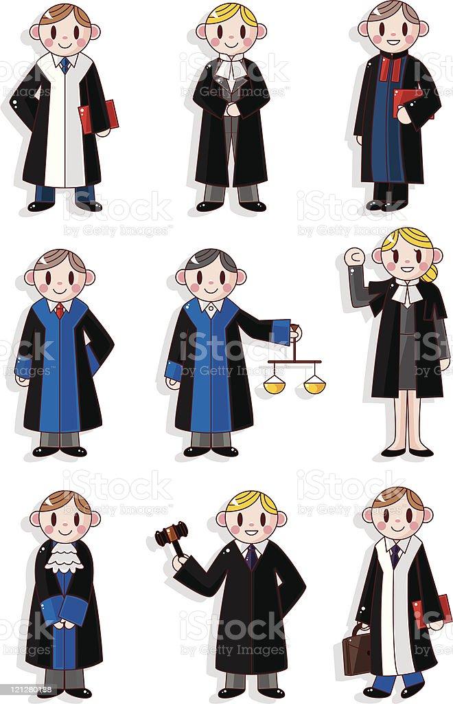 cartoon Judges and  lawyers icon set vector art illustration