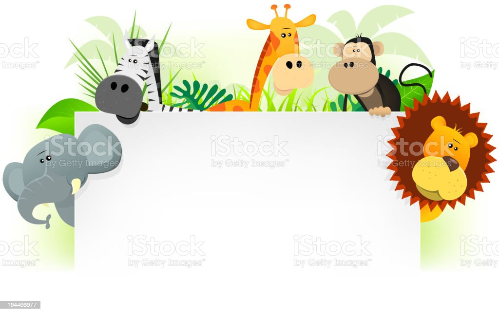 Cartoon jungle animals letterhead vector art illustration