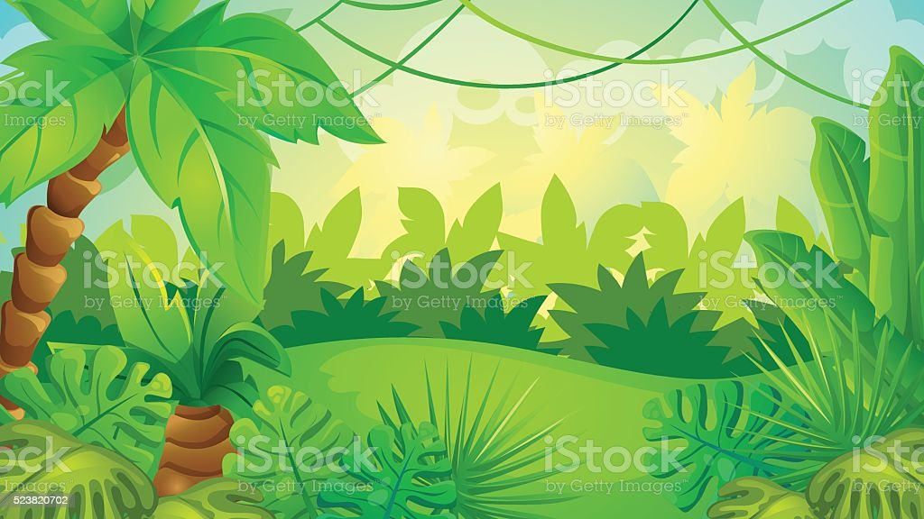 Cartoon Jungle Game Background vector art illustration