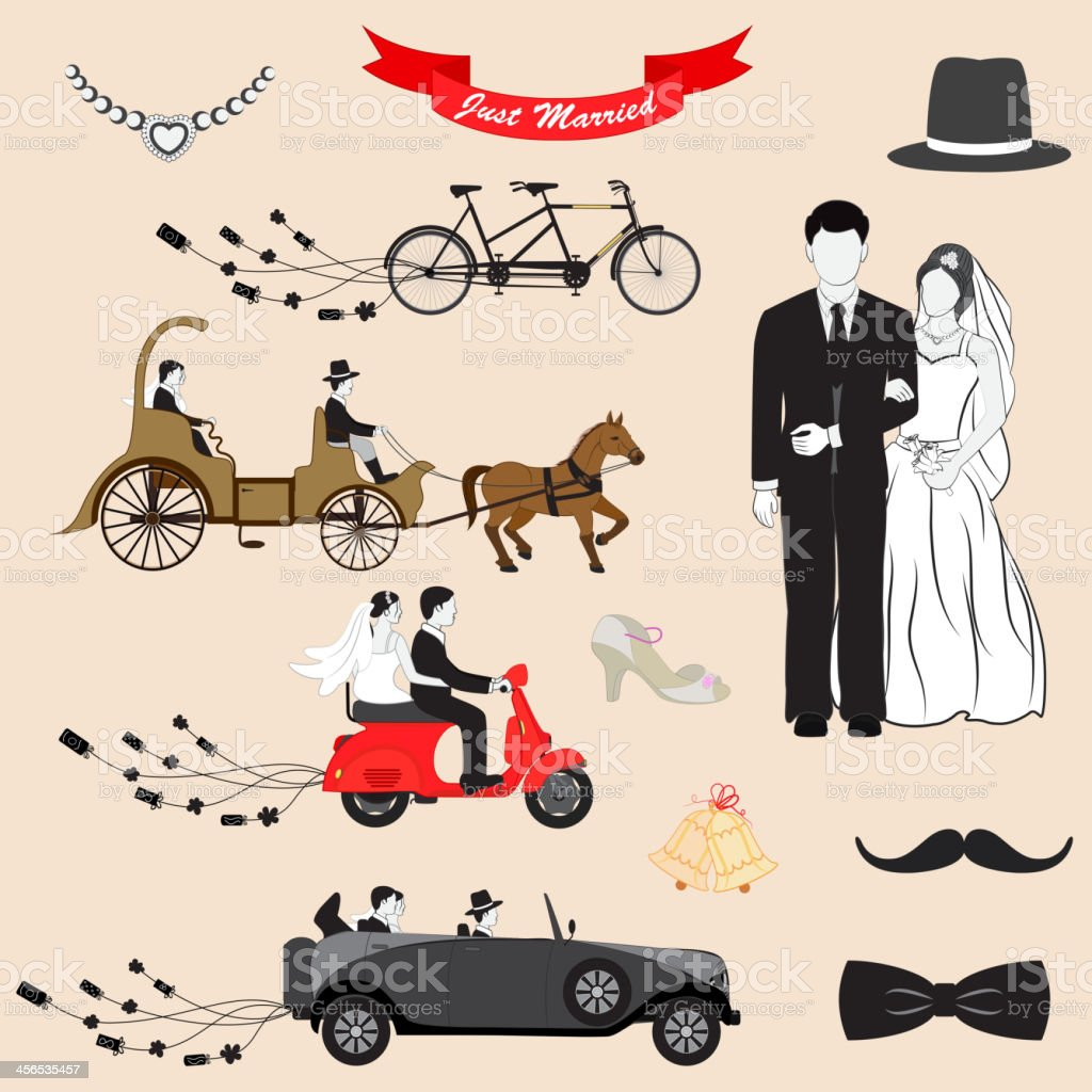 Cartoon Just Married icons of bride and groom with transport vector art illustration