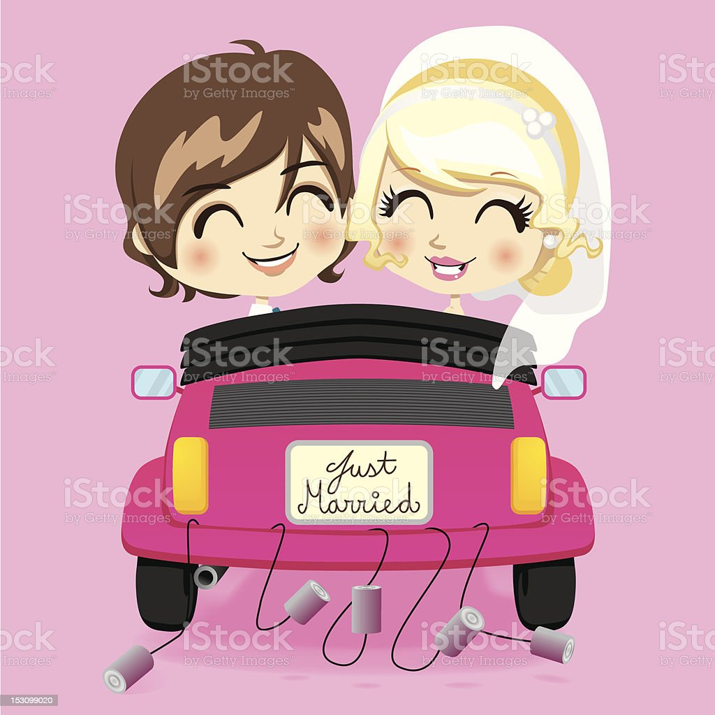 Cartoon just married lesbian couple vector art illustration