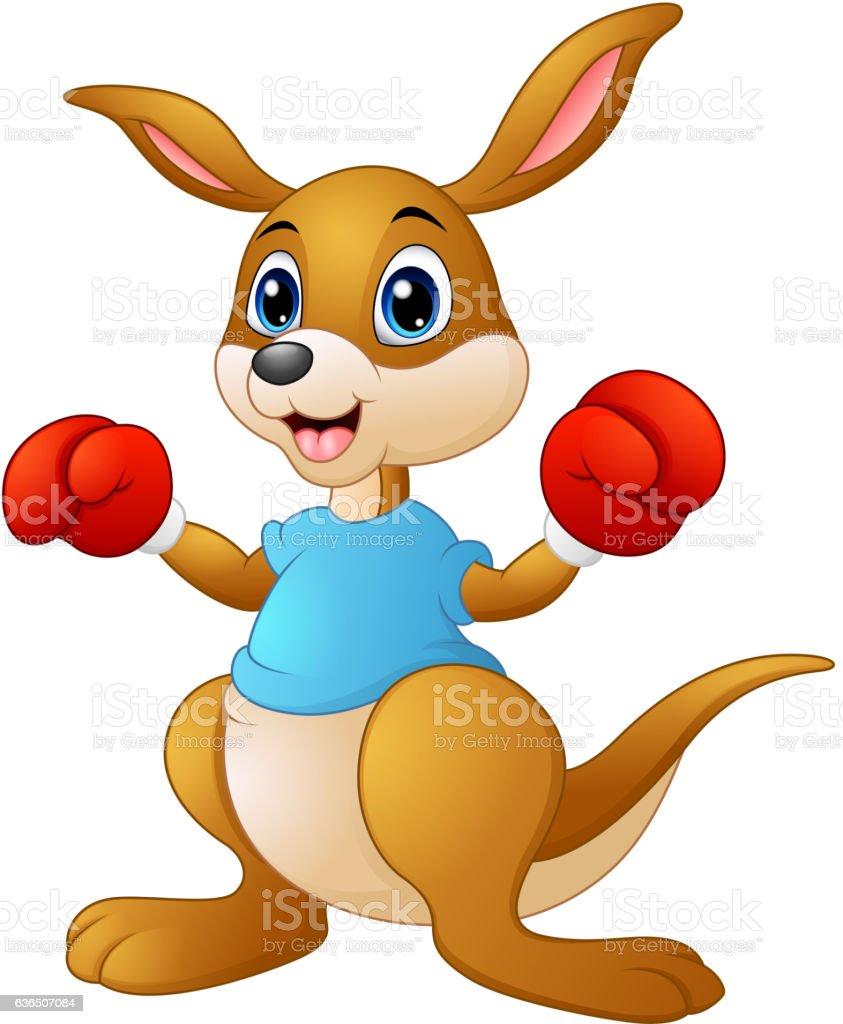 Cartoon kangaroo boxing vector art illustration