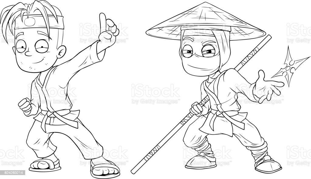 Ilustración de Dibujos Animados Karate Boy Y Ninja Vector Conjunto ...