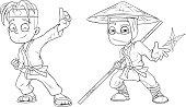 Cartoon karate boy and ninja character vector set