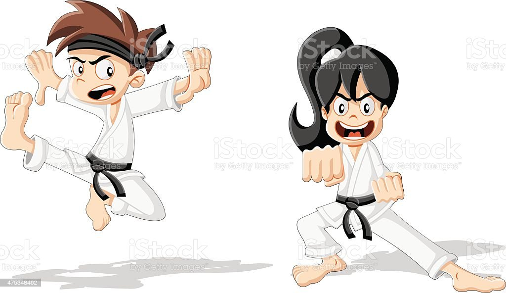 Cartoon karate kids vector art illustration