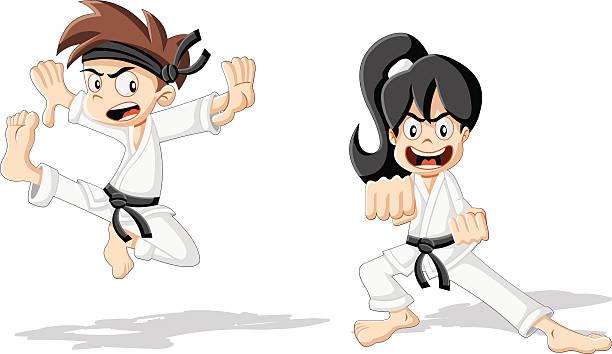 cartoon karate kids - karate stock illustrations, clip art, cartoons, & icons