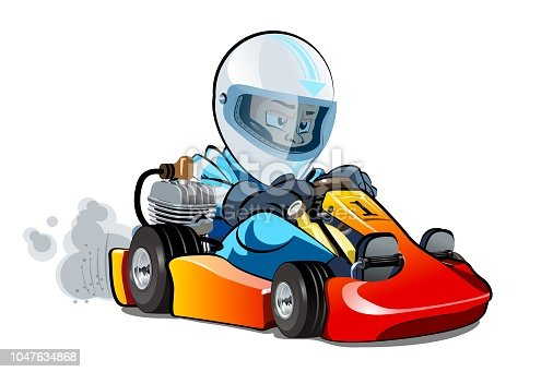 Vector Cartoon cart with kid racer isolated on white. Available EPS-10 separated by groups and layers for easy edit