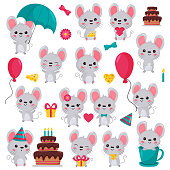 Birthday cake. For nursery. Rat with cheese, gift, umbrella, balloon, in cup. Valentines day theme. Isolated on white background.