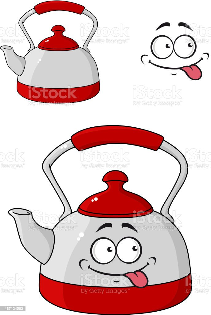 Cartoon kettle with a happy smile royalty-free cartoon kettle with a happy smile stock vector art & more images of anthropomorphic smiley face