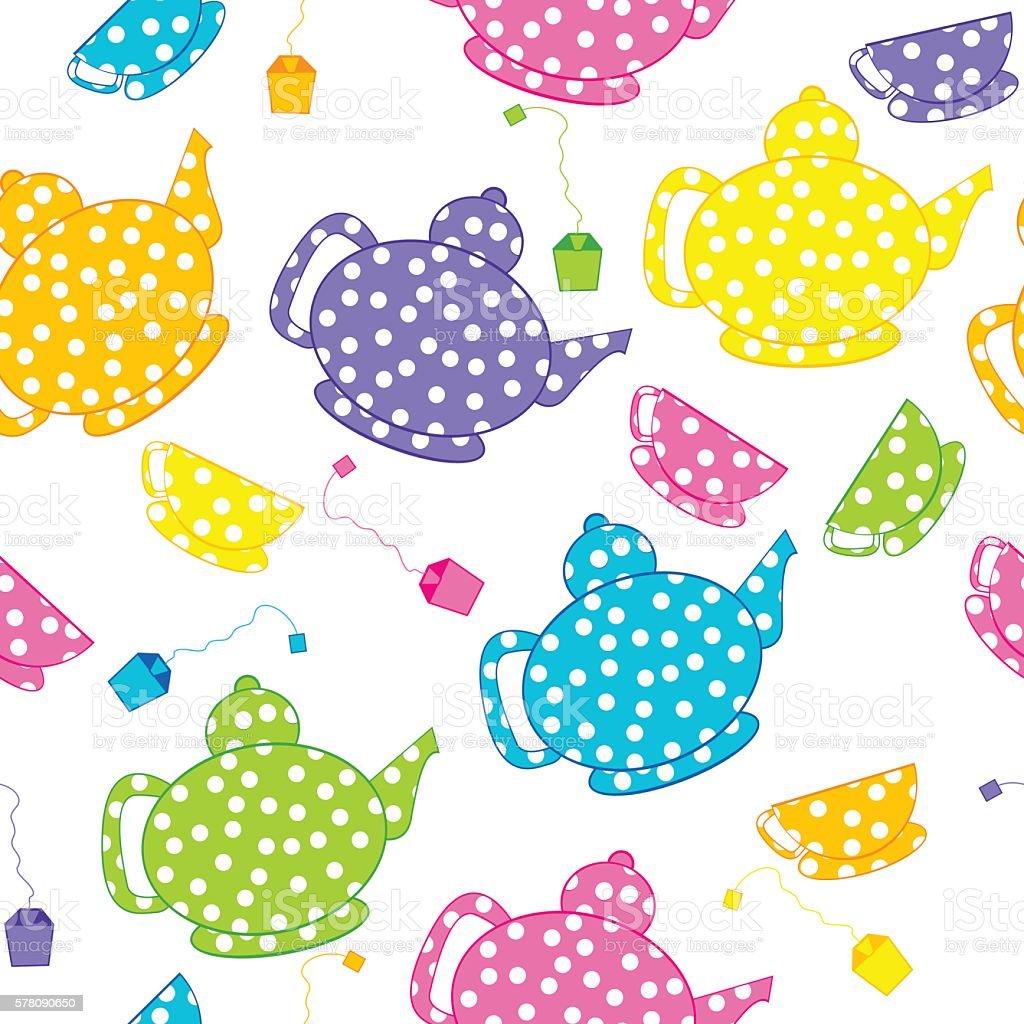 Cartoon kettles and tea cups vector art illustration