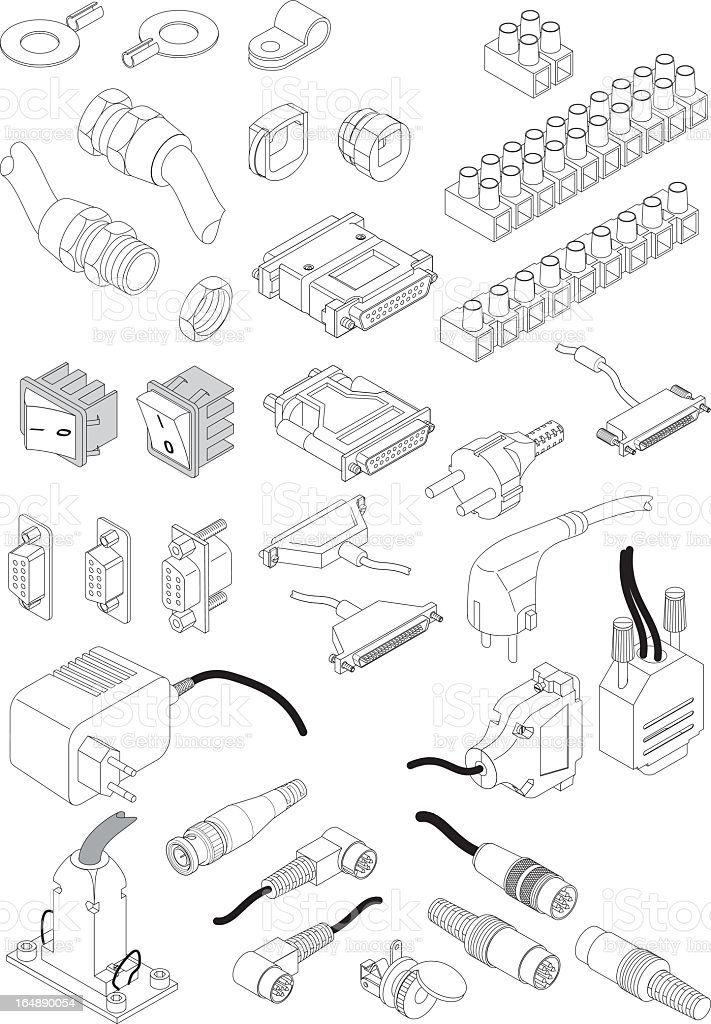 Cartoon key of common electrical parts vector art illustration
