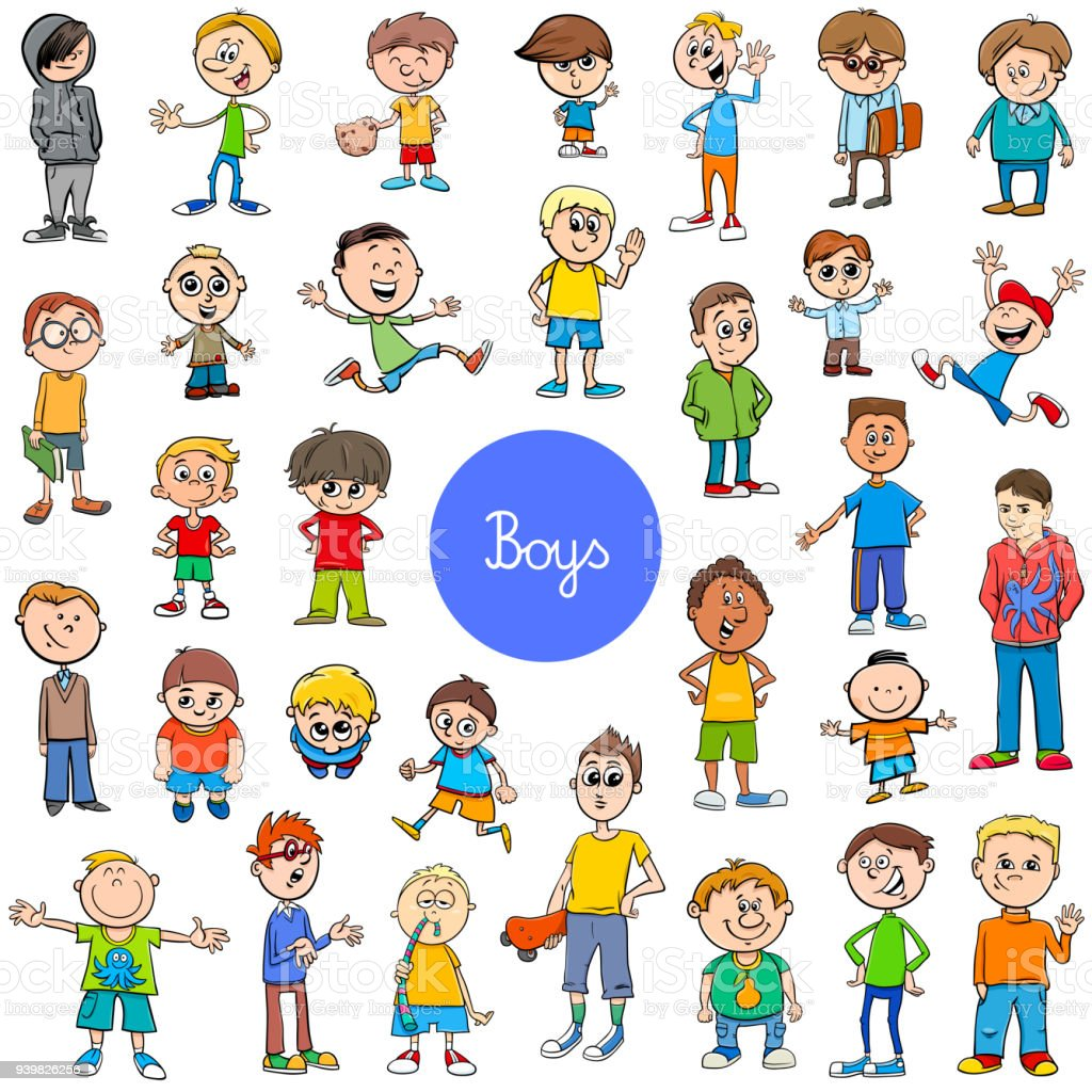 cartoon kid boys characters big set vector art illustration