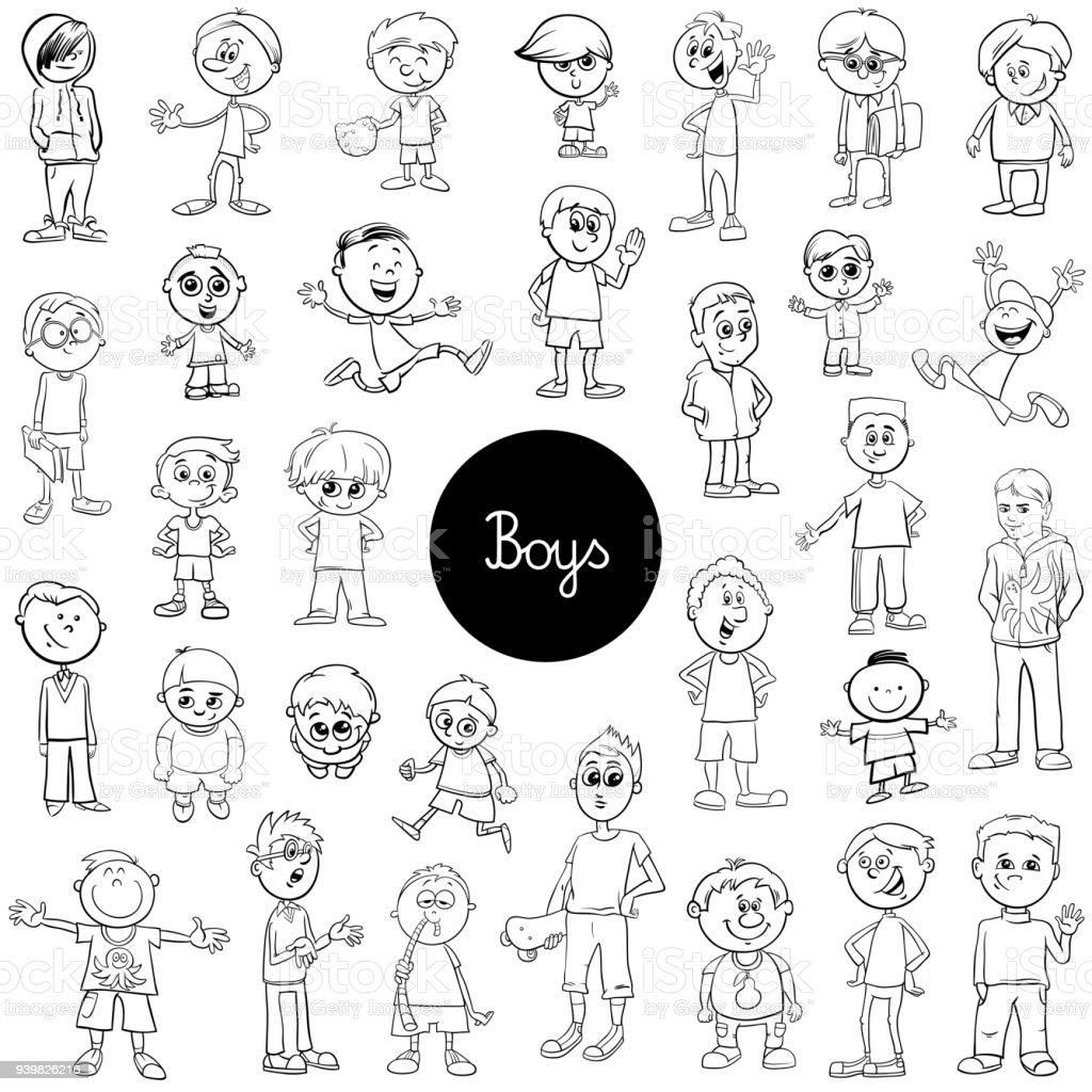 Vetores De Livro De Cor Conjunto Dos Desenhos Animados Criancas