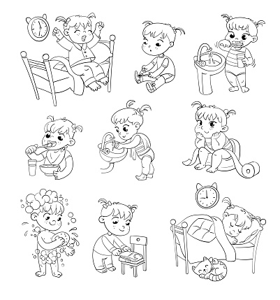 Cartoon Kid Daily Routine Activities Set Stock