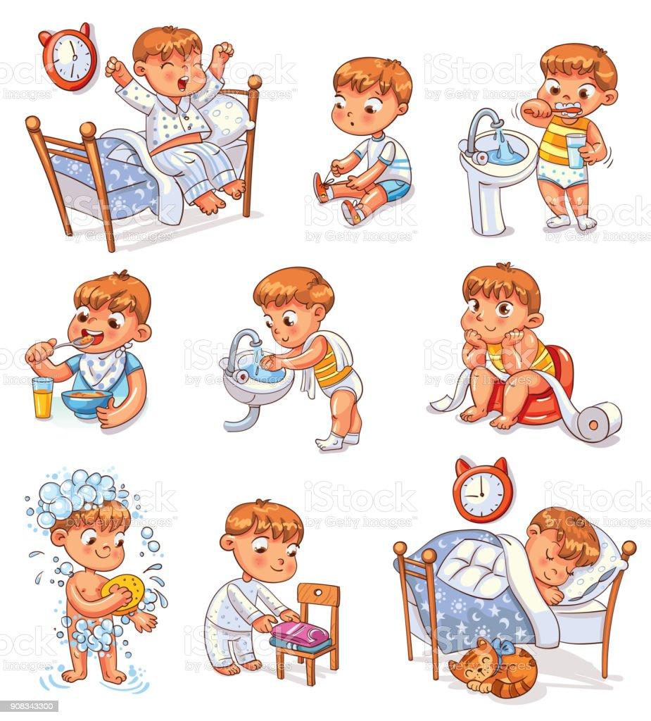 Cartoon Kid Daily Routine Activities Set Stock ...