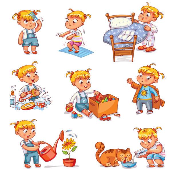 ilustrações de stock, clip art, desenhos animados e ícones de cartoon kid daily routine activities set - lata comida gato