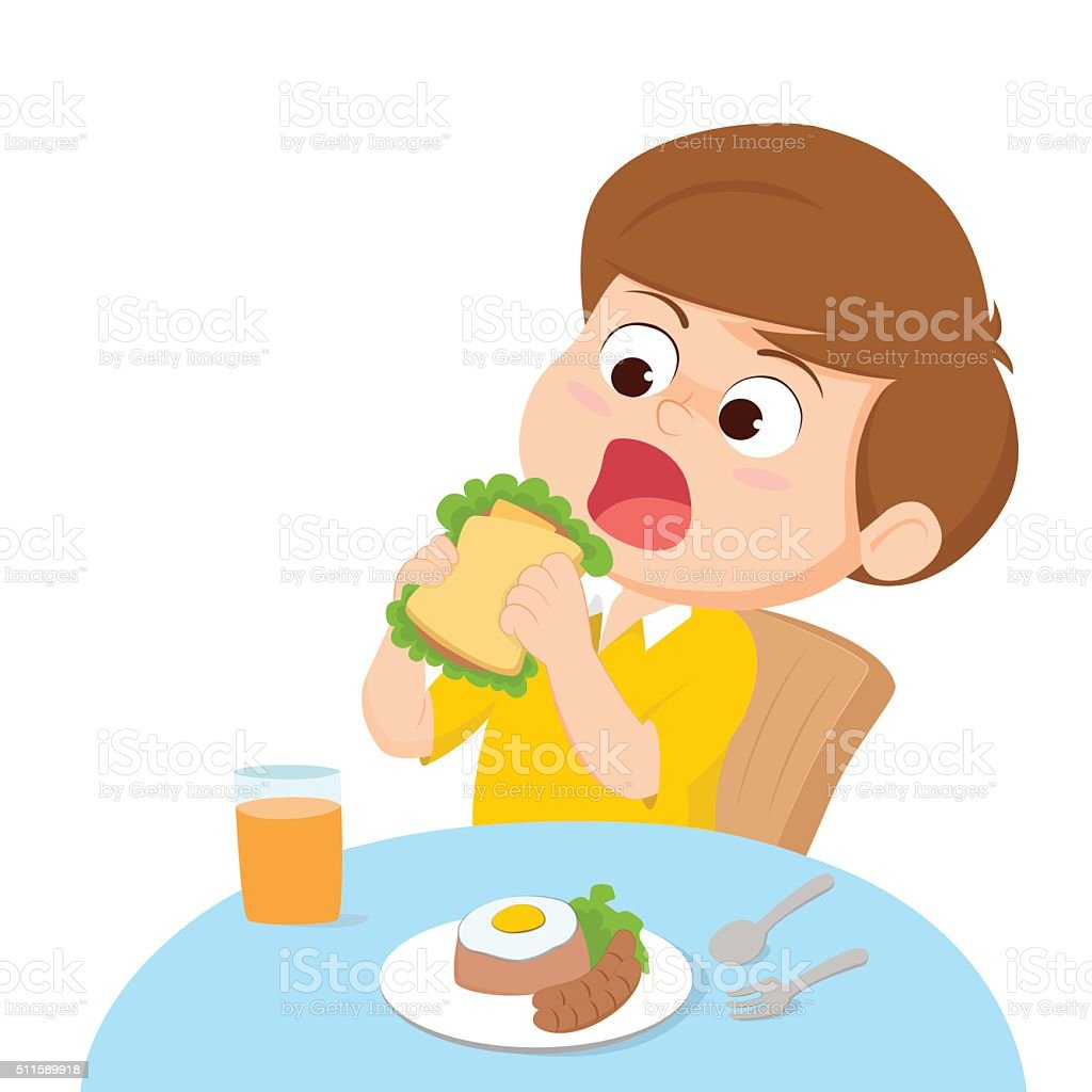 Cartoon Kid Eating Stock Vector Art & More Images of ...