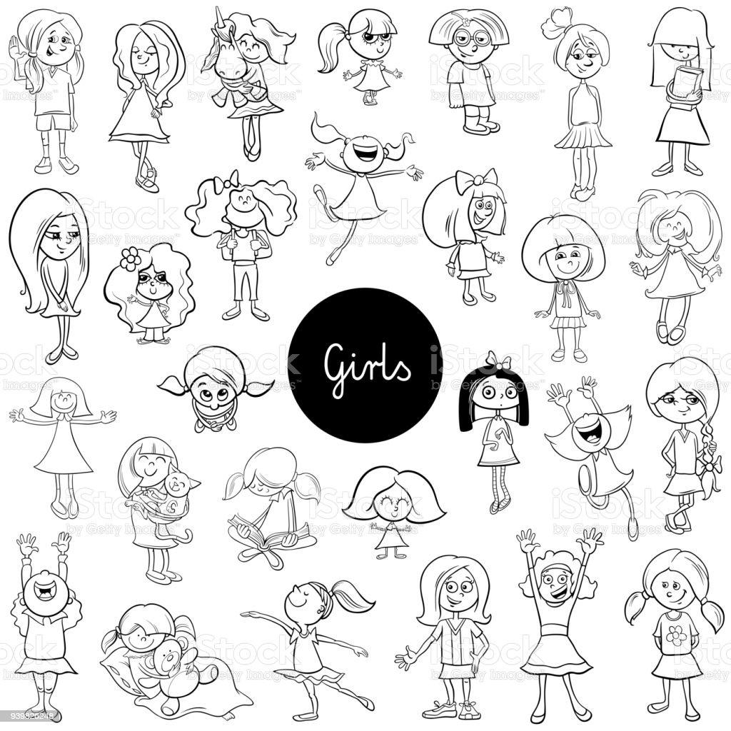 Vetores De Livro De Definir A Cor Dos Desenhos Animados Criancas