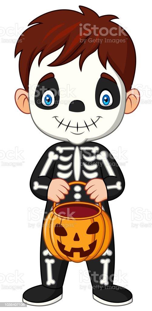 Vetores De Crianca Desenhos Animados Com Fantasia De Esqueleto