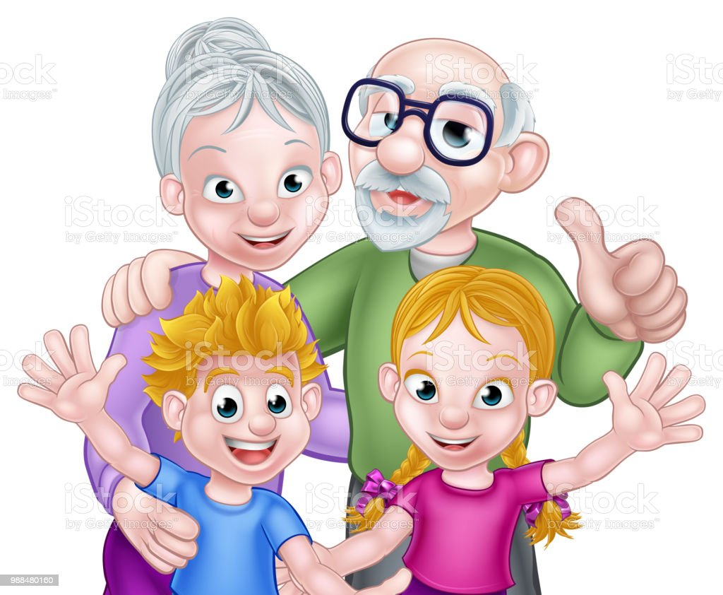Ilustración De Abuelos Y Los Niños Dibujos Animados Y