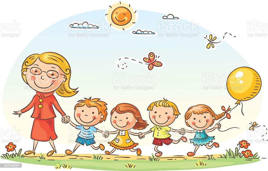 Cartoon Kids and their Teacher Outdoors vector art illustration