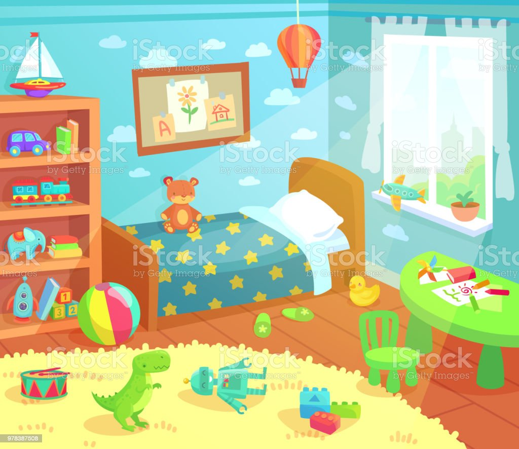cartoon kids bedroom interior home childrens room with kid bed child