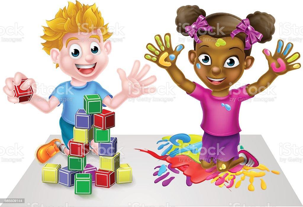 Cartoon Kids Having Fun – Vektorgrafik