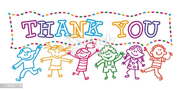 Colourful Vector Illustration with a Cartoon Kids holding a Thank You banner message