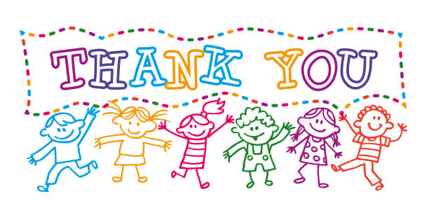 cartoon-kids halten ein dankeschön banner-nachricht - kindersprüche stock-grafiken, -clipart, -cartoons und -symbole