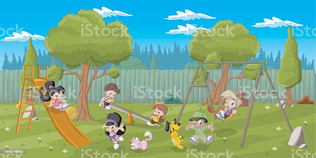 cartoon kids in playground