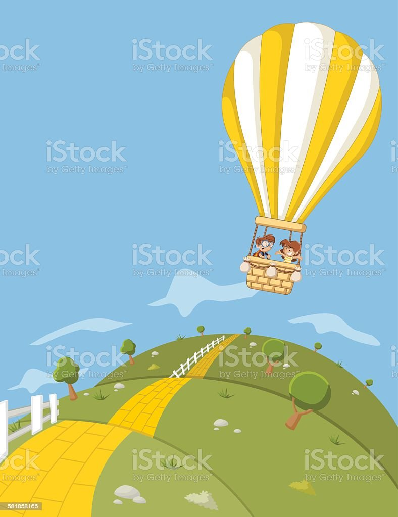 Cartoon kids inside a hot air balloon flying vector art illustration