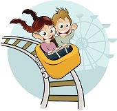 cartoon kids on rollercoaster