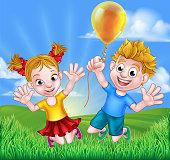 Cartoon Kids Outdoors Jumping with Balloon