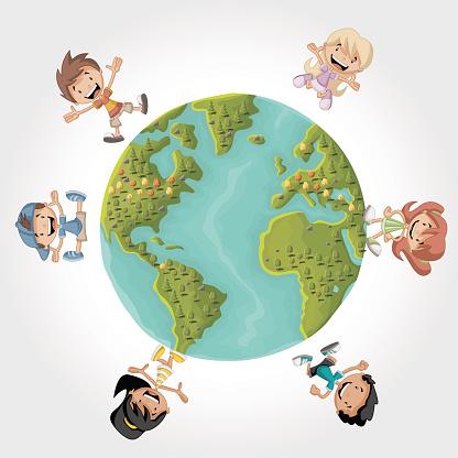 Enfants Dessin Animé Sur La Planète Terre Vecteurs libres ...