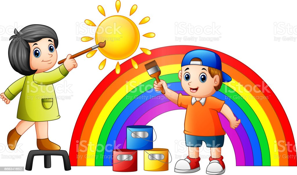 Cartoon kids painting rainbow and sun vector art illustration