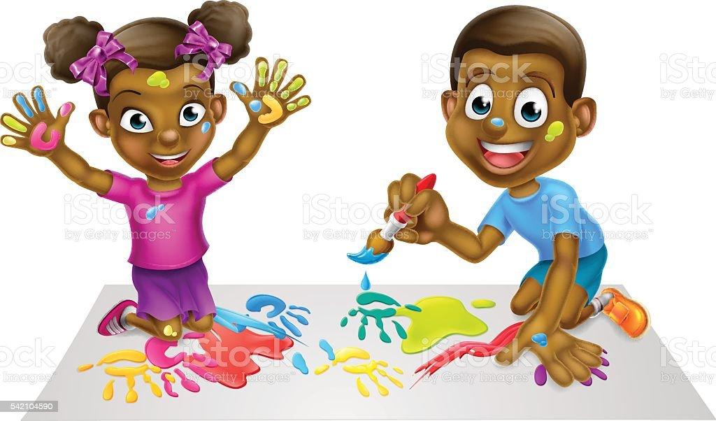 Ilustración de De Historieta Niños Pintando y más banco de imágenes ...