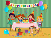 Cartoon kids party with sweets and gifts on birthday celebration. Vector illustration.