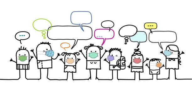 illustrations, cliparts, dessins animés et icônes de les enfants de dessin animé des gens avec des masques de protection et le réseau social - covid france